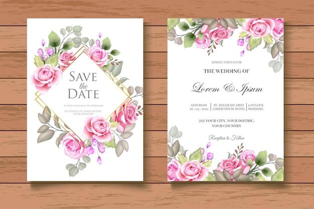 Handgetekende aquarel foral bruiloft uitnodigingskaart