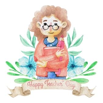 Handgetekende aquarel happy teacher day