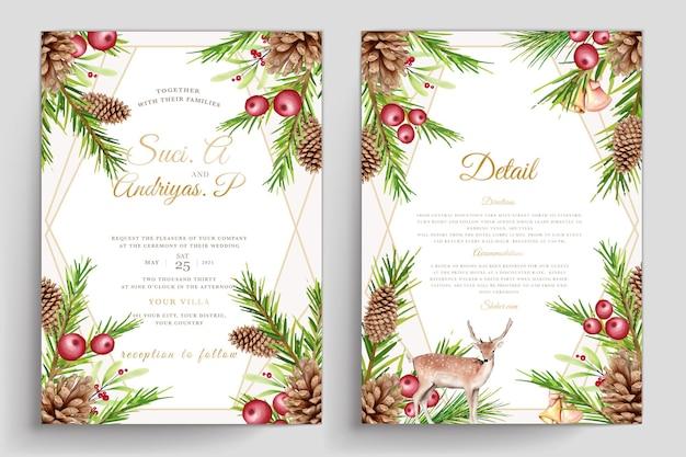 Handgetekende aquarel kerst uitnodigingskaarten set