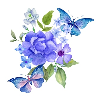 Handgetekende aquarel mooie boeketdecoratie met vlinders
