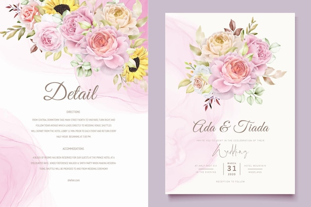 Handgetekende aquarel rozen boeketten set