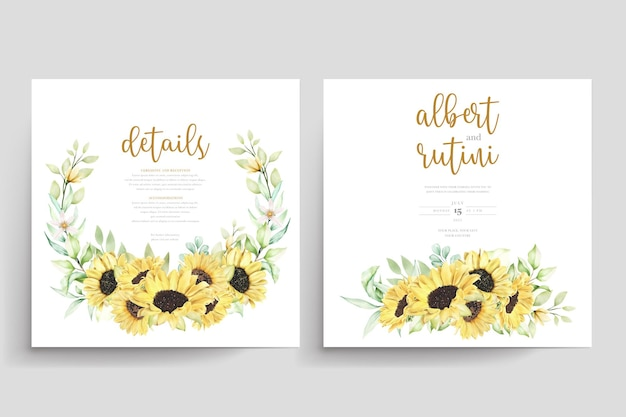Handgetekende aquarel zonnebloem bruiloft kaartenset wedding Gratis Vector