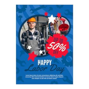 Handgetekende arbeidsdag verticale verkoop foldersjabloon met foto