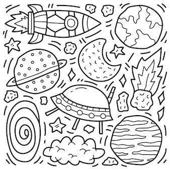 Handgetekende astronaut doodle cartoon kleurontwerp