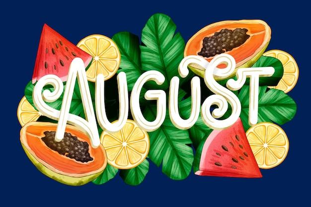 Handgetekende augustus-belettering met fruit