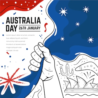 Handgetekende australië dag ontwerp