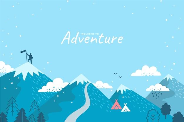 Handgetekende avontuurlijke achtergrond met bergen