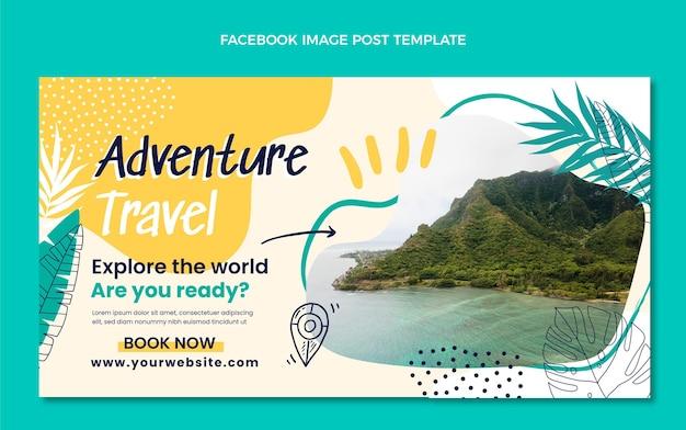 Handgetekende avontuurlijke reizen facebook post