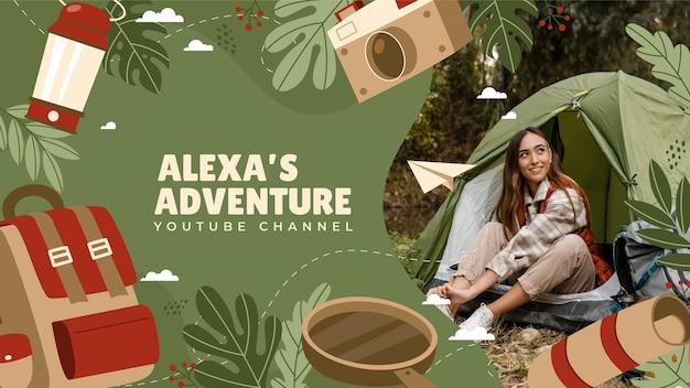 Handgetekende avontuurlijke youtube-kanaalkunst met foto
