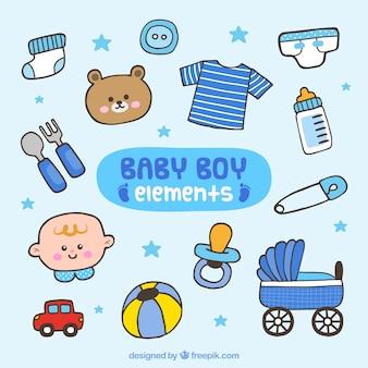 Handgetekende baby boy elementen