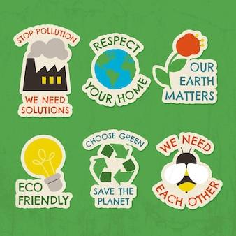 Handgetekende badge-collectie voor klimaatverandering