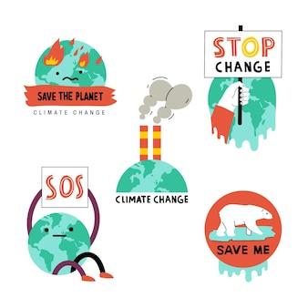 Handgetekende badges voor klimaatverandering