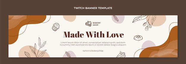 Handgetekende bakkerij winkel twitch banner