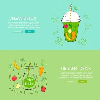 Handgetekende banner met glas en smoothies. appel, bes, banaan, wortel, citroengroen detox. biologische fruitshake-cocktail. eco-gezonde ingrediënten. vectorillustratie voor restaurant, bar, menu.