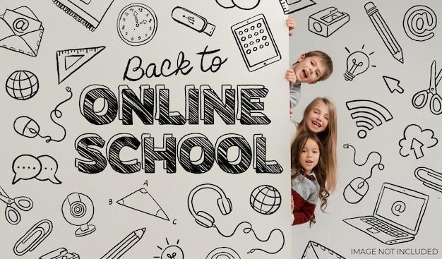 Handgetekende banner terug naar online school
