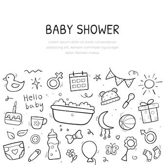 Handgetekende banner van baby-objecten en elementen. achtergrond sjabloonontwerp. symbolen in lineaire handgetekende stijl. vector illustratie.