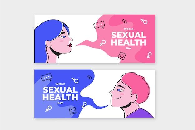 Handgetekende banners voor wereld seksuele gezondheid dag