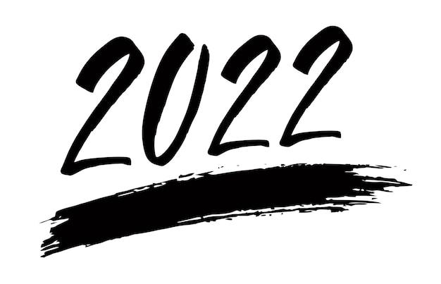 Handgetekende belettering wenskaart met chinese kalligrafie voor 2022 happy new year handgeschreven