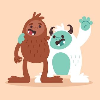 Handgetekende bigfoot sasquatch en yeti adominable snowman illustration