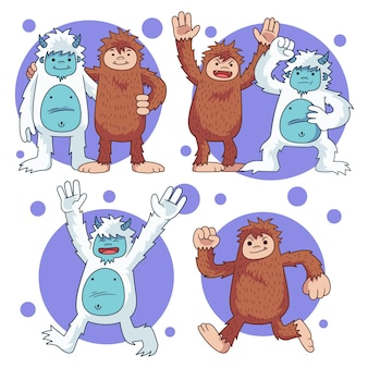 Handgetekende bigfoot sasquatch en yeti adominable snowman illustration