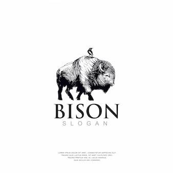 Handgetekende bizons logo