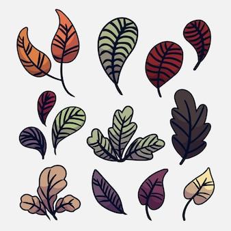 Handgetekende bladeren collectie