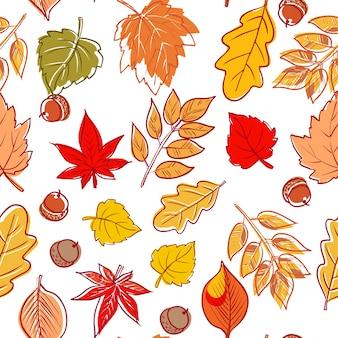 Handgetekende bladeren doodles naadloos