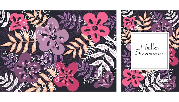 Handgetekende bladeren en bloemen patroon.
