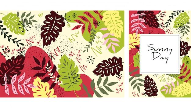 Handgetekende bladeren patroon