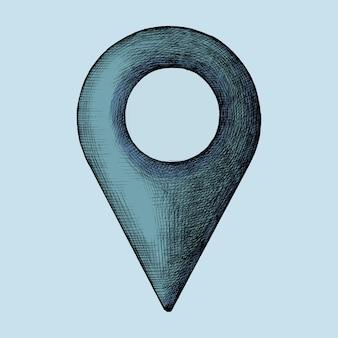 Handgetekende blauwe locatie pin illustratie