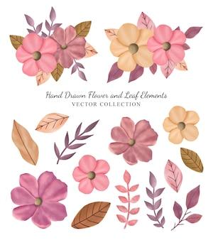 Handgetekende bloem- en bladelementen vectorcollectie