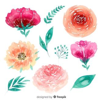 Handgetekende bloemen aquarel achtergrond