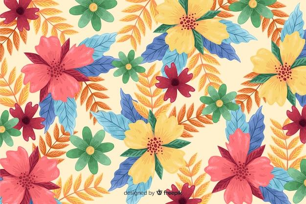 Handgetekende bloemen bloesem behang