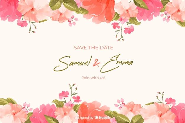 Handgetekende bloemen bruiloft achtergrond