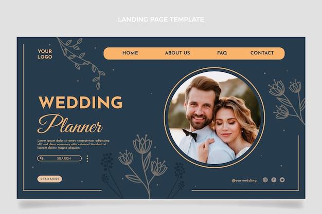 Handgetekende bloemen bruiloft bestemmingspagina