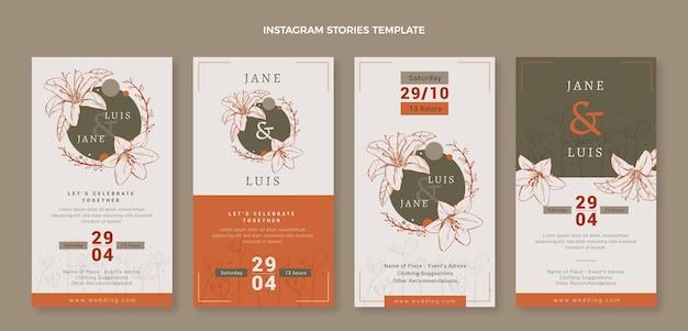 Handgetekende bloemen bruiloft instagram verhalen