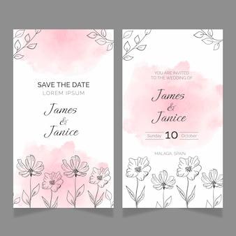 Handgetekende bloemen bruiloft kaarten sjabloon