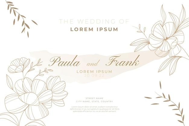 Handgetekende bloemen bruiloft sjabloon