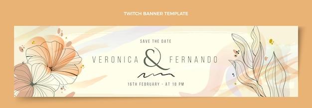 Handgetekende bloemen bruiloft twitch banner