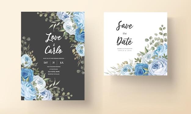 Handgetekende bloemen bruiloft uitnodiging kaartsjabloon