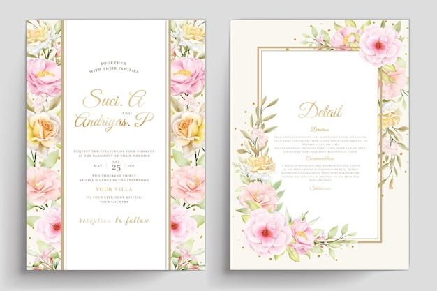 Handgetekende bloemen bruiloft uitnodiging sjabloon Premium Vector