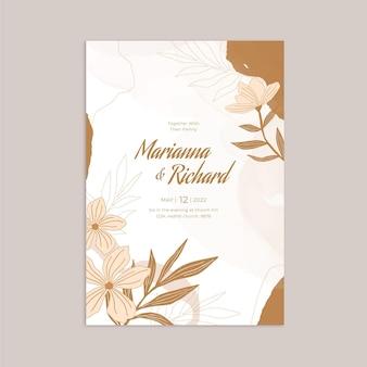 Handgetekende bloemen bruiloft uitnodiging sjabloon