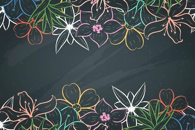 Handgetekende bloemen op blackboard achtergrond