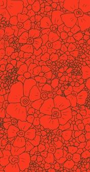Handgetekende bloemen op een rode achtergrond