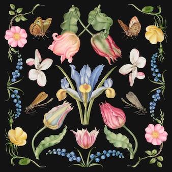 Handgetekende bloemen vector floral illustratie set, remix van the model book of calligraphy joris hoefnagel en georg bocskay Gratis Vector