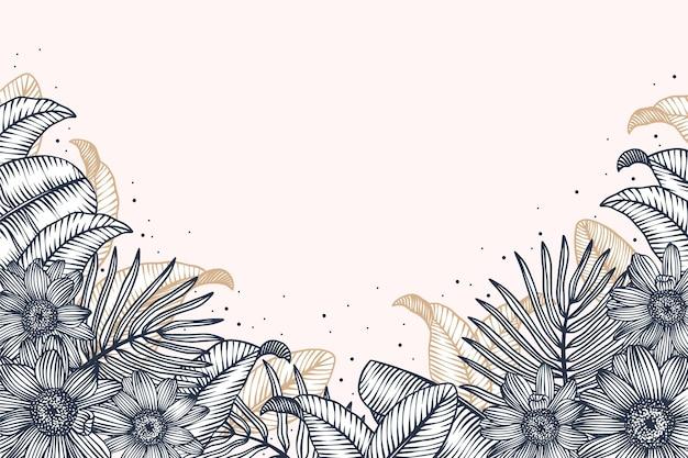 Handgetekende bloemenachtergrond graveren