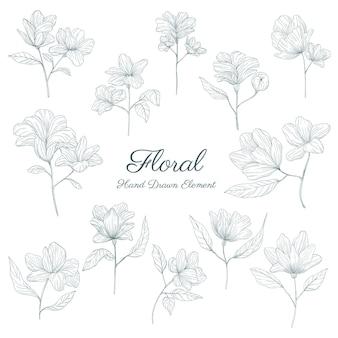 Handgetekende bloemenelementencollecties