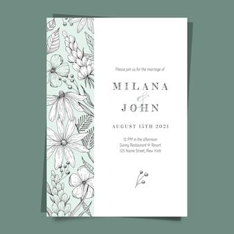 Handgetekende bloemenhuwelijksuitnodiging graveren