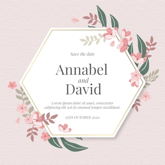 Handgetekende bloemenhuwelijksuitnodiging met zeshoek