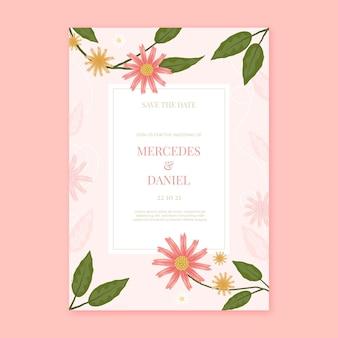 Handgetekende bloemenhuwelijksuitnodiging